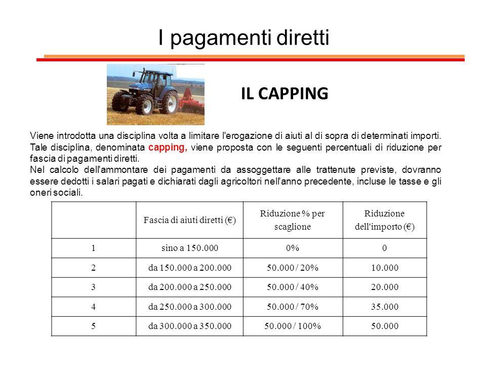 I pagamenti diretti IL CAPPING Viene introdotta una disciplina volta a limitare l'erogazione di aiuti al di sopra di determinati importi. Tale discipl