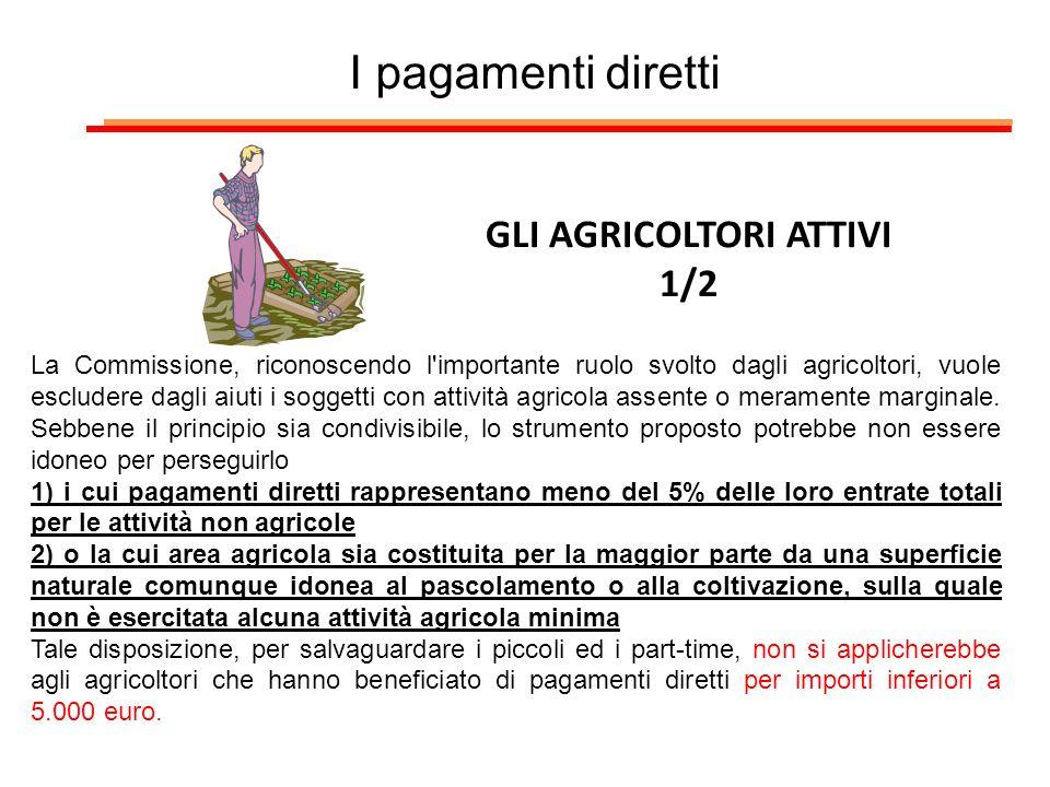 I pagamenti diretti GLI AGRICOLTORI ATTIVI 1/2 La Commissione, riconoscendo l'importante ruolo svolto dagli agricoltori, vuole escludere dagli aiuti i