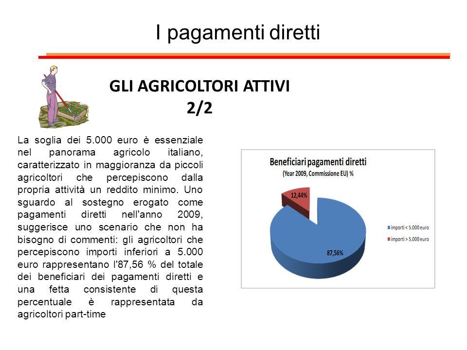I pagamenti diretti GLI AGRICOLTORI ATTIVI 2/2 La soglia dei 5.000 euro è essenziale nel panorama agricolo italiano, caratterizzato in maggioranza da