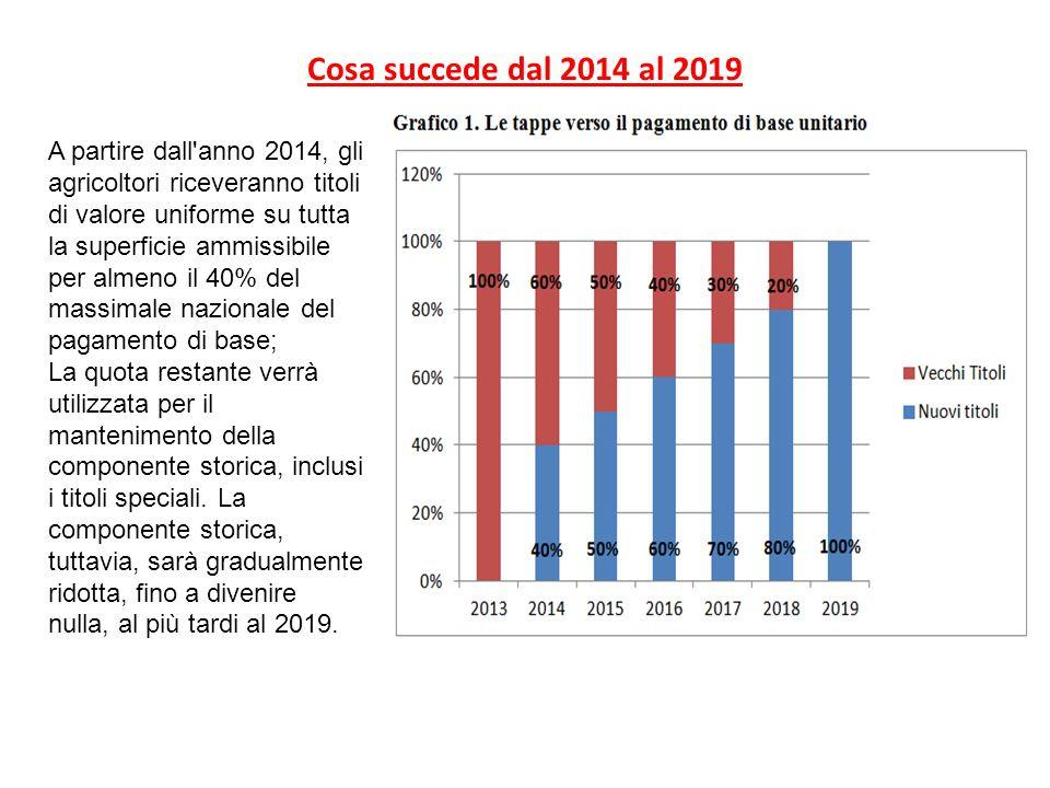 Cosa succede dal 2014 al 2019 A partire dall'anno 2014, gli agricoltori riceveranno titoli di valore uniforme su tutta la superficie ammissibile per a