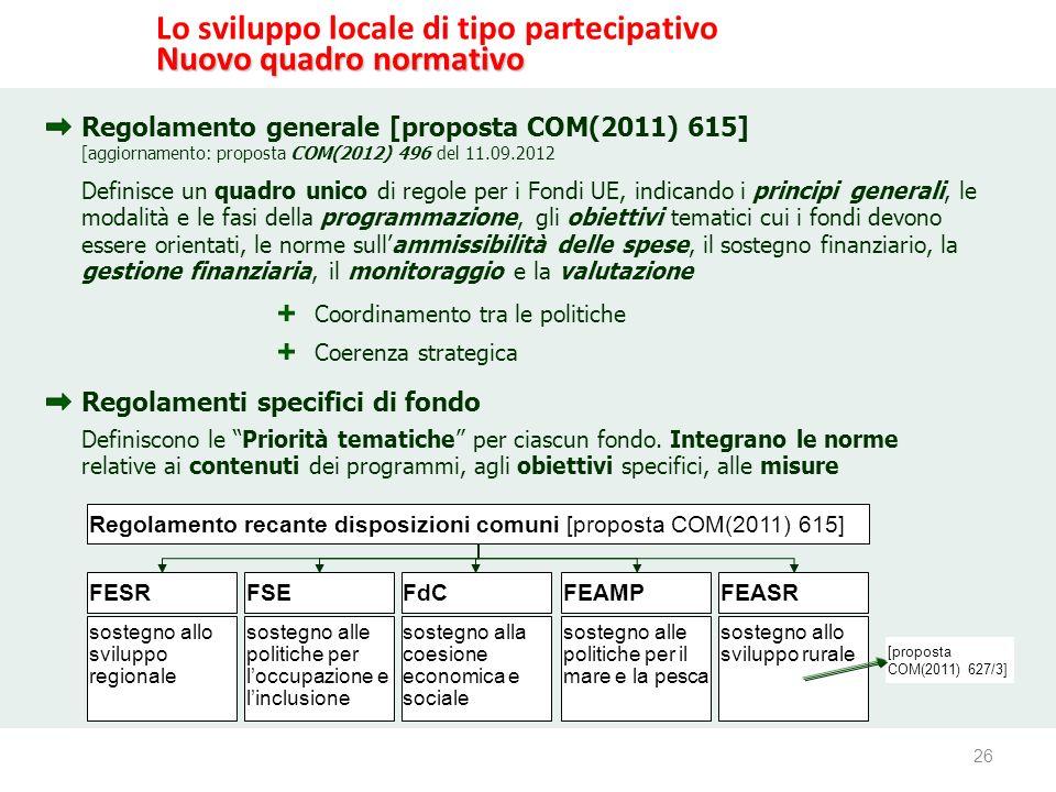 26 www.reterurale.it/leader Lo sviluppo locale di tipo partecipativo Nuovo quadro normativo Regolamento generale [proposta COM(2011) 615] Regolamenti