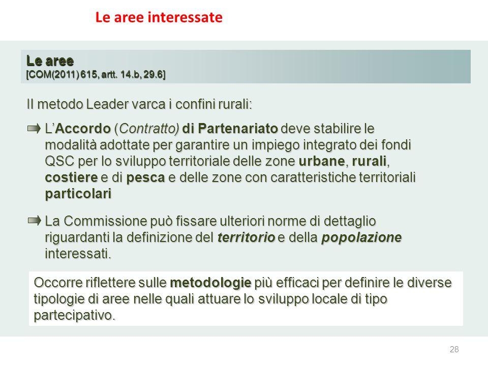Le aree interessate Le aree [COM(2011) 615, artt. 14.b, 29.6] LAccordo (Contratto) di Partenariato deve stabilire le modalità adottate per garantire u