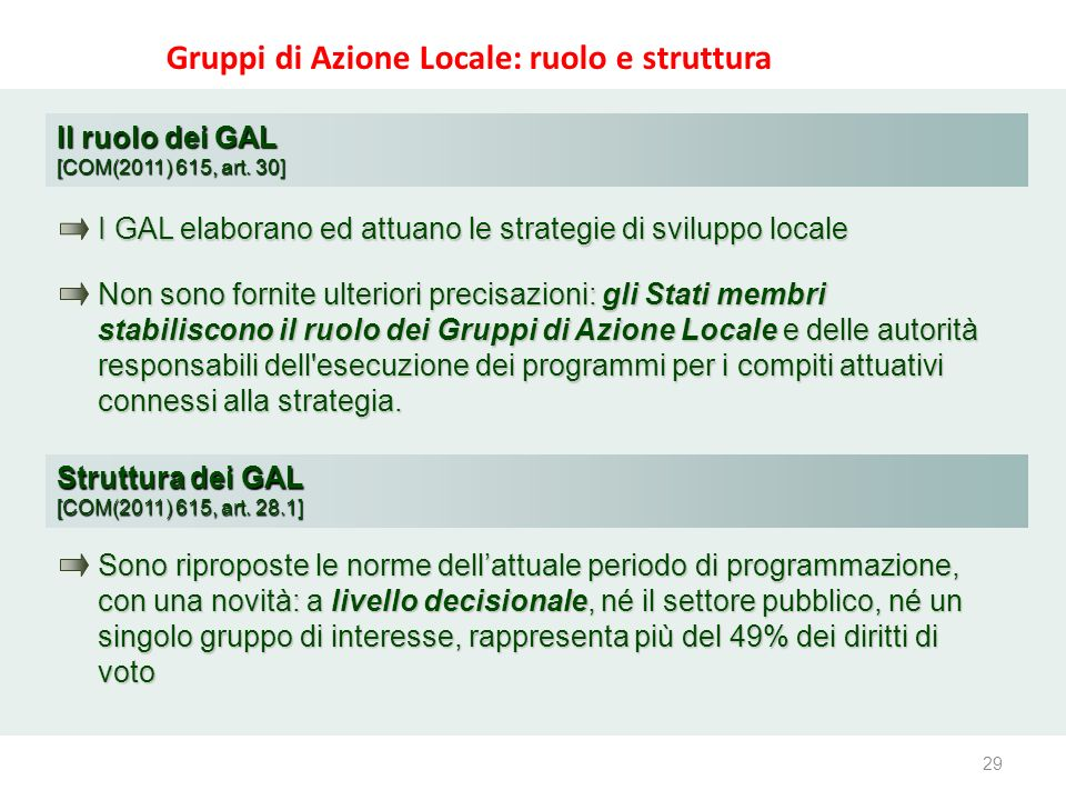29 www.reterurale.it/leader Gruppi di Azione Locale: ruolo e struttura Il ruolo dei GAL [COM(2011) 615, art. 30] I GAL elaborano ed attuano le strateg