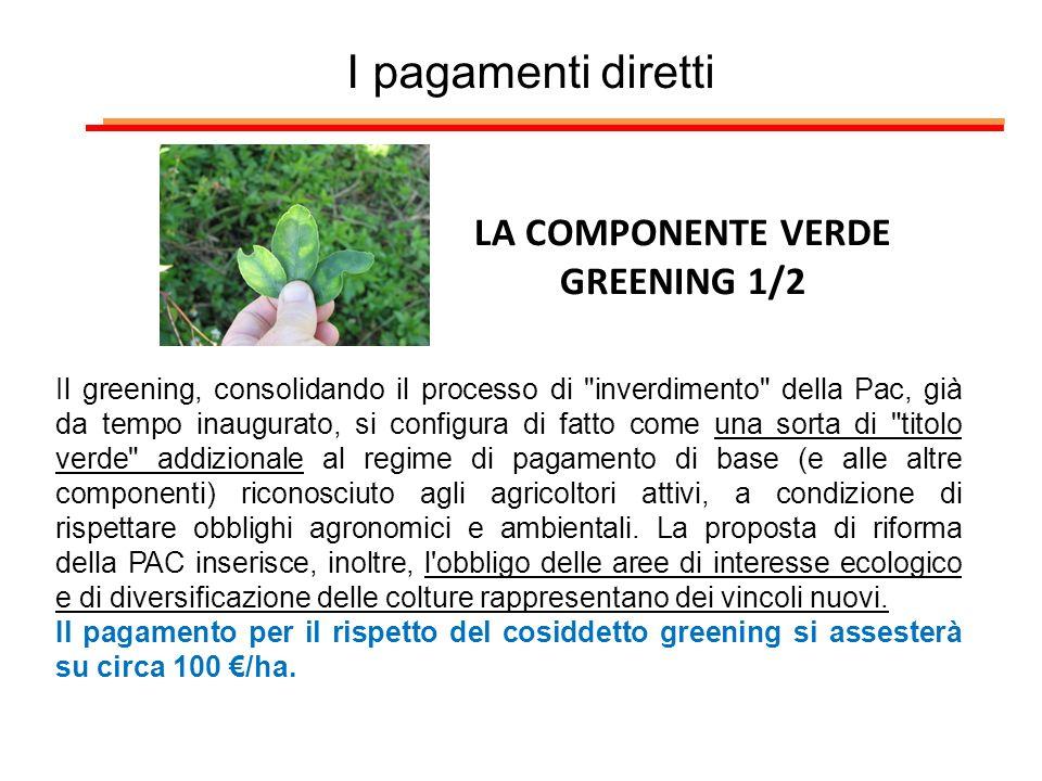 I pagamenti diretti LA COMPONENTE VERDE GREENING 1/2 Il greening, consolidando il processo di