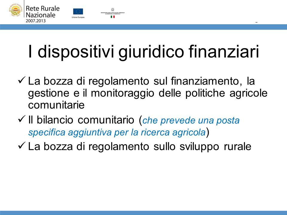 I dispositivi giuridico finanziari La bozza di regolamento sul finanziamento, la gestione e il monitoraggio delle politiche agricole comunitarie Il bi