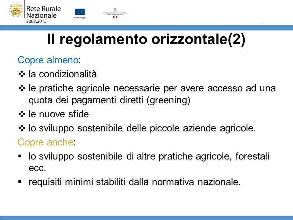 Il regolamento orizzontale(2) Copre almeno: la condizionalità le pratiche agricole necessarie per avere accesso ad una quota dei pagamenti diretti (gr