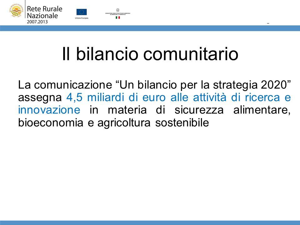 Il bilancio comunitario La comunicazione Un bilancio per la strategia 2020 assegna 4,5 miliardi di euro alle attività di ricerca e innovazione in mate
