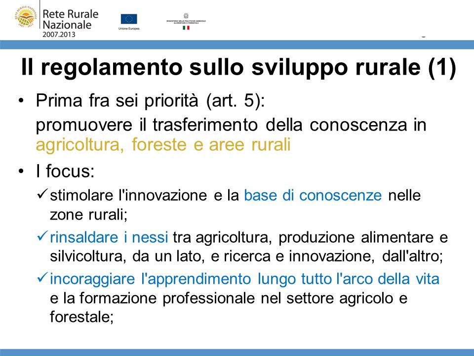 Il regolamento sullo sviluppo rurale (1) Prima fra sei priorità (art. 5): promuovere il trasferimento della conoscenza in agricoltura, foreste e aree