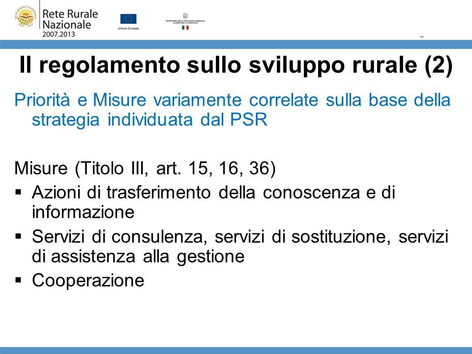 Il regolamento sullo sviluppo rurale (2) Priorità e Misure variamente correlate sulla base della strategia individuata dal PSR Misure (Titolo III, art