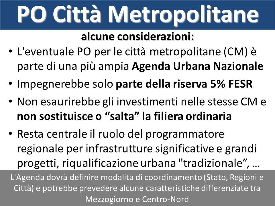 PO Città Metropolitane alcune considerazioni: L'Agenda dovrà definire modalità di coordinamento (Stato, Regioni e Città) e potrebbe prevedere alcune c
