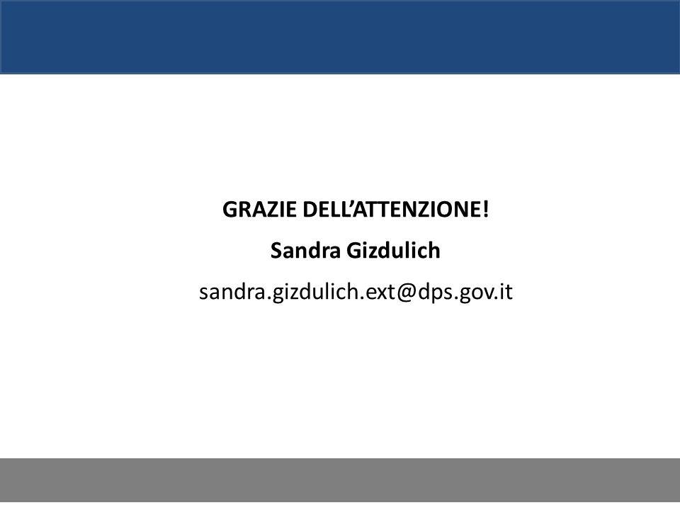 GRAZIE DELLATTENZIONE! Sandra Gizdulich sandra.gizdulich.ext@dps.gov.it