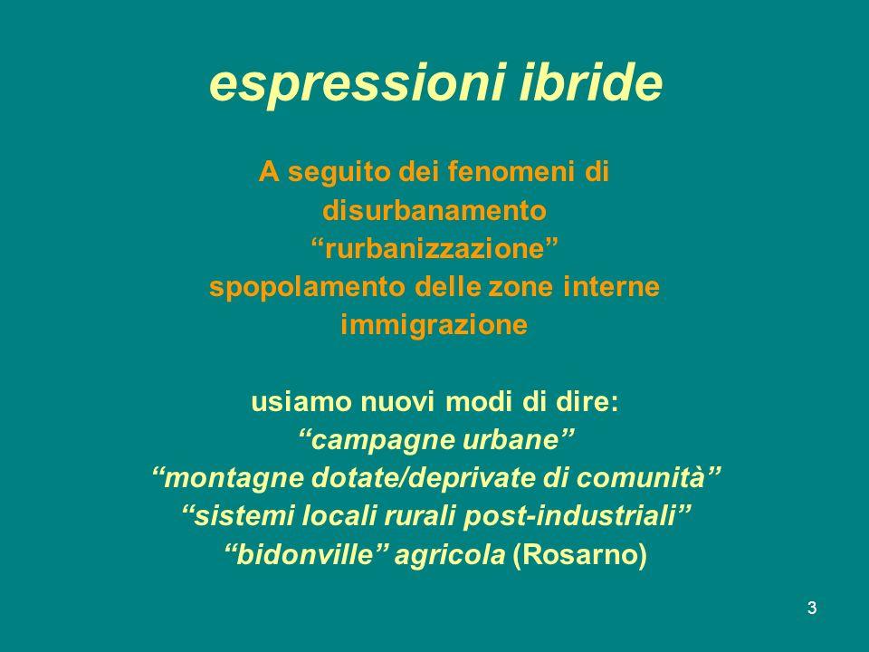 3 espressioni ibride A seguito dei fenomeni di disurbanamento rurbanizzazione spopolamento delle zone interne immigrazione usiamo nuovi modi di dire: campagne urbane montagne dotate/deprivate di comunità sistemi locali rurali post-industriali bidonville agricola (Rosarno)