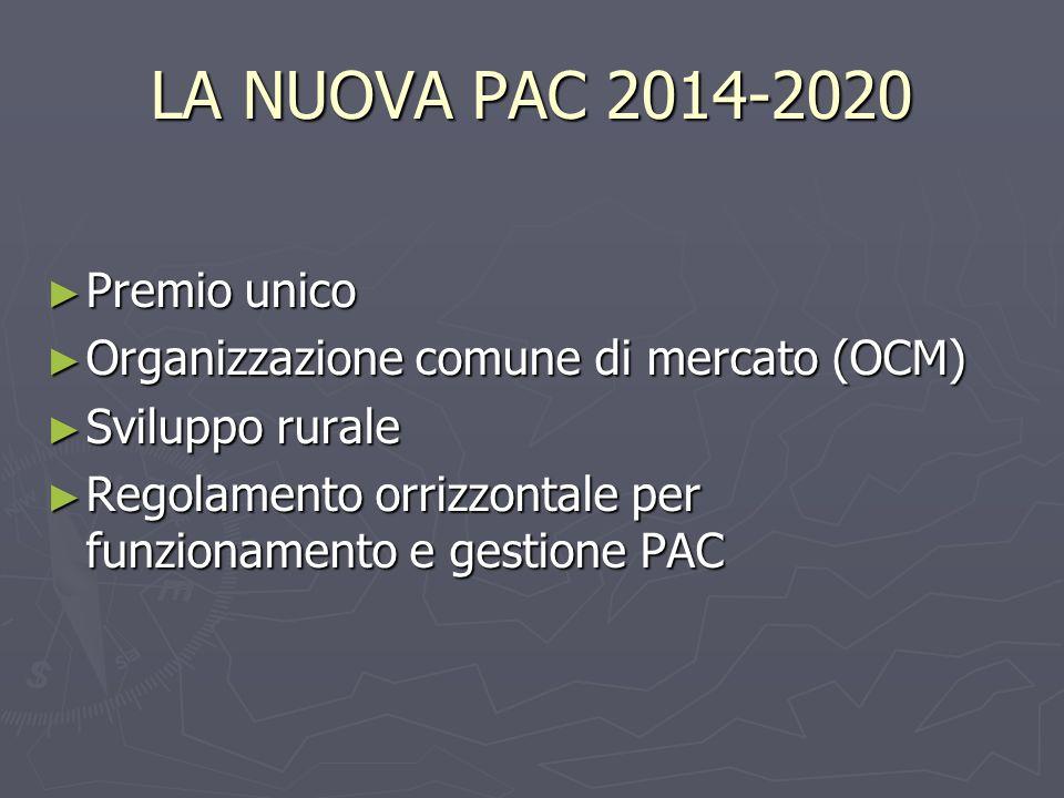 LA NUOVA PAC 2014-2020 Premio unico Premio unico Organizzazione comune di mercato (OCM) Organizzazione comune di mercato (OCM) Sviluppo rurale Sviluppo rurale Regolamento orrizzontale per funzionamento e gestione PAC Regolamento orrizzontale per funzionamento e gestione PAC