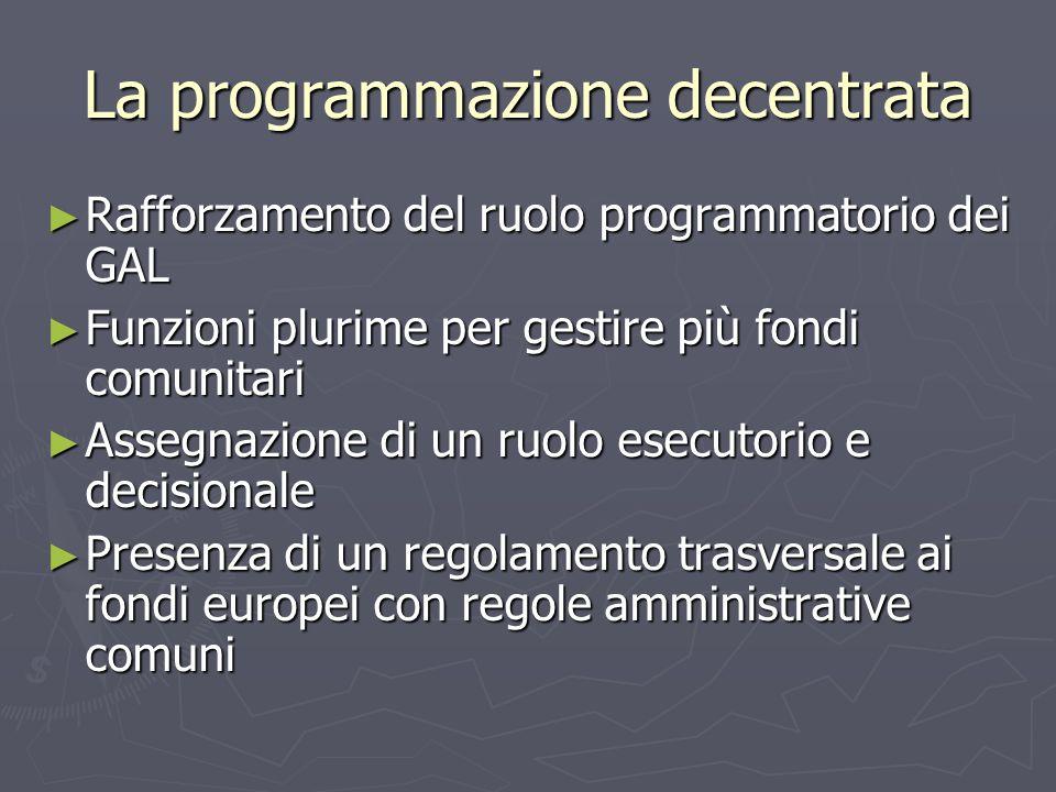 La programmazione decentrata Rafforzamento del ruolo programmatorio dei GAL Rafforzamento del ruolo programmatorio dei GAL Funzioni plurime per gestire più fondi comunitari Funzioni plurime per gestire più fondi comunitari Assegnazione di un ruolo esecutorio e decisionale Assegnazione di un ruolo esecutorio e decisionale Presenza di un regolamento trasversale ai fondi europei con regole amministrative comuni Presenza di un regolamento trasversale ai fondi europei con regole amministrative comuni