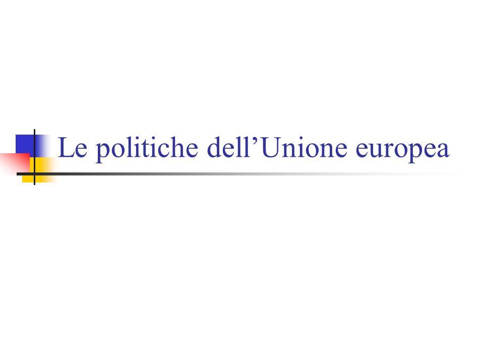 La politica agricola La più costosa delle politiche europee anche se riformata più volte per contenere le spese (soprattutto con allargamento) Basata su varie forme di sussidi alla produzione agricola Con il tempo si passa da sussidi alla produzione a sussidi al reddito che prescindono dalla produzione (disaccoppiamento)