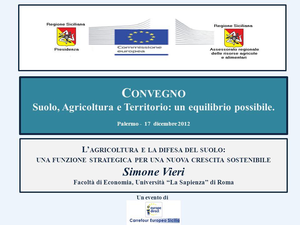 C ONVEGNO Suolo, Agricoltura e Territorio: un equilibrio possibile. Palermo - 17 dicembre 2012 L AGRICOLTURA E LA DIFESA DEL SUOLO : UNA FUNZIONE STRA