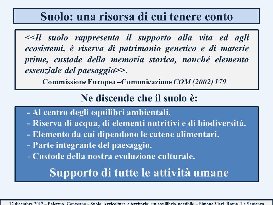 Suolo: una risorsa di cui tenere conto 17 dicembre 2012 – Palermo, Convegno – Suolo, Agricoltura e territorio: un equilibrio possibile – Simone Vieri, Roma, La Sapienza >.