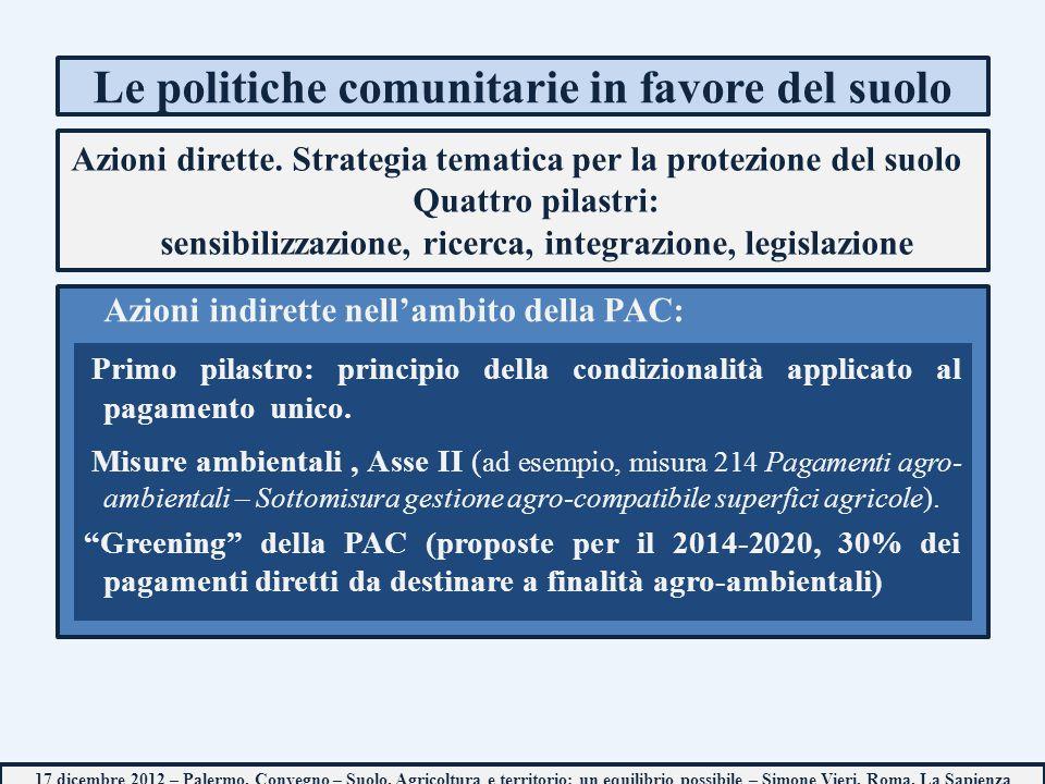 Le politiche comunitarie in favore del suolo Azioni dirette. Strategia tematica per la protezione del suolo Quattro pilastri: sensibilizzazione, ricer
