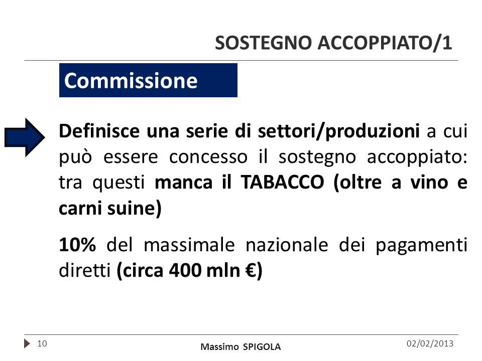 Massimo SPIGOLA SOSTEGNO ACCOPPIATO/1 02/02/201310 Commissione Definisce una serie di settori/produzioni a cui può essere concesso il sostegno accoppi