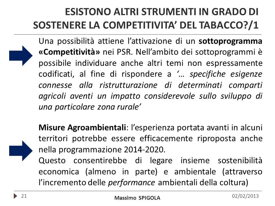 Massimo SPIGOLA ESISTONO ALTRI STRUMENTI IN GRADO DI SOSTENERE LA COMPETITIVITA DEL TABACCO?/1 02/02/201321 Una possibilità attiene lattivazione di un