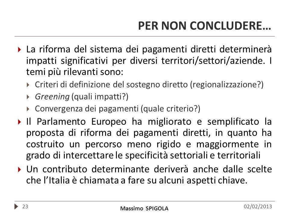 Massimo SPIGOLA PER NON CONCLUDERE… La riforma del sistema dei pagamenti diretti determinerà impatti significativi per diversi territori/settori/azien