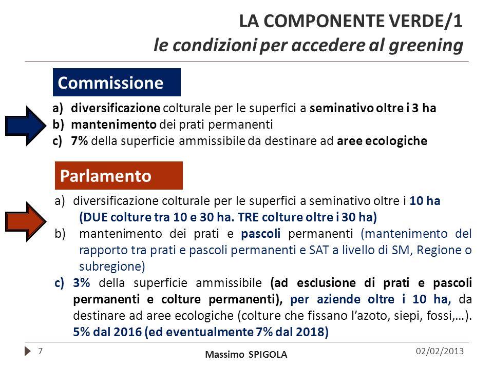 Massimo SPIGOLA LA COMPONENTE VERDE/1 le condizioni per accedere al greening 7 a)diversificazione colturale per le superfici a seminativo oltre i 3 ha