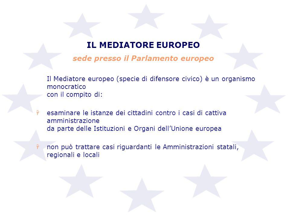 IL MEDIATORE EUROPEO sede presso il Parlamento europeo Il Mediatore europeo (specie di difensore civico) è un organismo monocratico con il compito di: