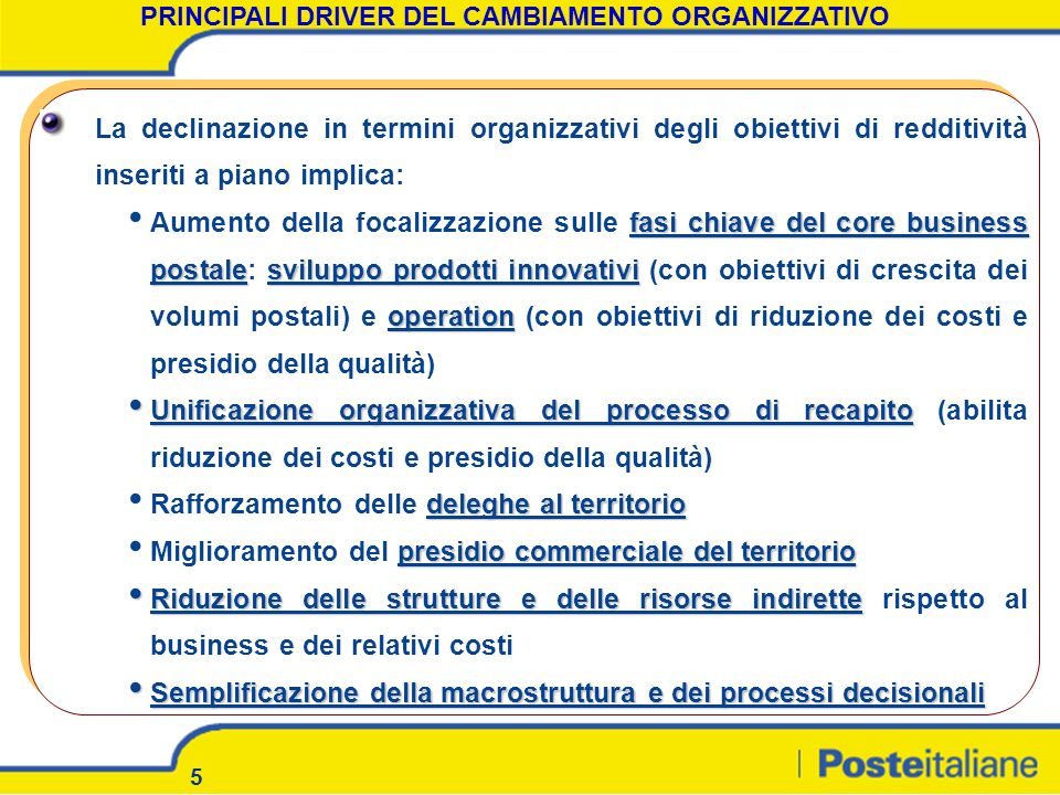 5 La declinazione in termini organizzativi degli obiettivi di redditività inseriti a piano implica: fasi chiave del core business postalesviluppo prod
