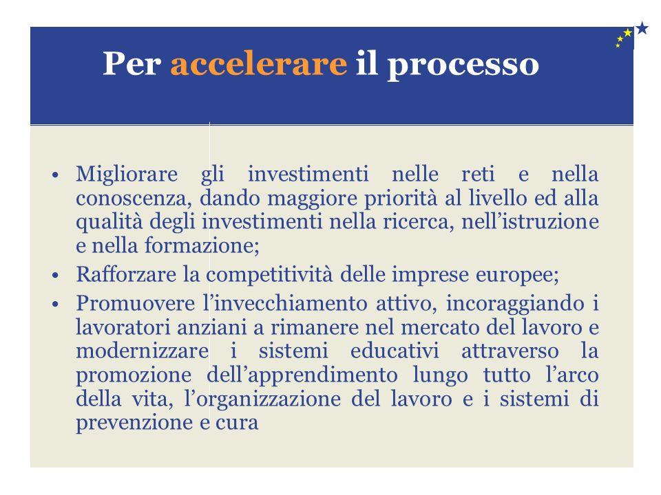 Per accelerare il processo Migliorare gli investimenti nelle reti e nella conoscenza, dando maggiore priorità al livello ed alla qualità degli investi