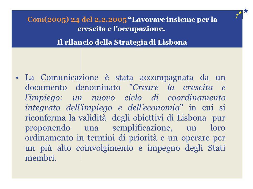Com(2005) 24 del 2.2.2005 Lavorare insieme per la crescita e loccupazione. Il rilancio della Strategia di Lisbona La Comunicazione è stata accompagnat