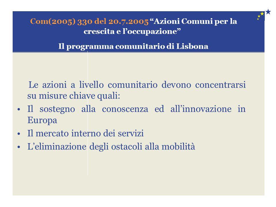 Com(2005) 330 del 20.7.2005 Azioni Comuni per la crescita e loccupazione Il programma comunitario di Lisbona Le azioni a livello comunitario devono concentrarsi su misure chiave quali: Il sostegno alla conoscenza ed allinnovazione in Europa Il mercato interno dei servizi Leliminazione degli ostacoli alla mobilità