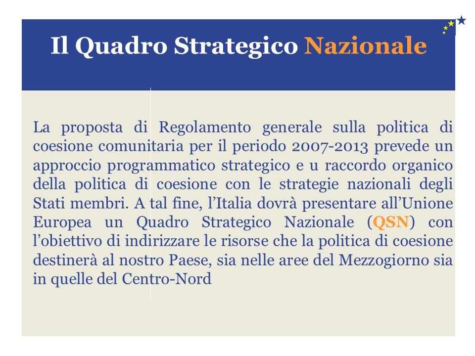 Il Quadro Strategico Nazionale La proposta di Regolamento generale sulla politica di coesione comunitaria per il periodo 2007-2013 prevede un approccio programmatico strategico e u raccordo organico della politica di coesione con le strategie nazionali degli Stati membri.