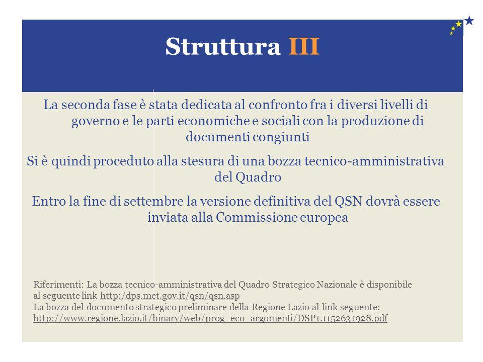 Struttura III La seconda fase è stata dedicata al confronto fra i diversi livelli di governo e le parti economiche e sociali con la produzione di docu