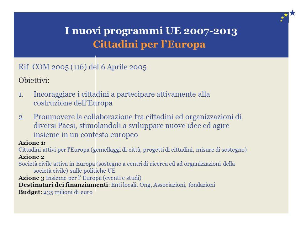I nuovi programmi UE 2007-2013 Cittadini per lEuropa Rif. COM 2005 (116) del 6 Aprile 2005 Obiettivi: 1.Incoraggiare i cittadini a partecipare attivam