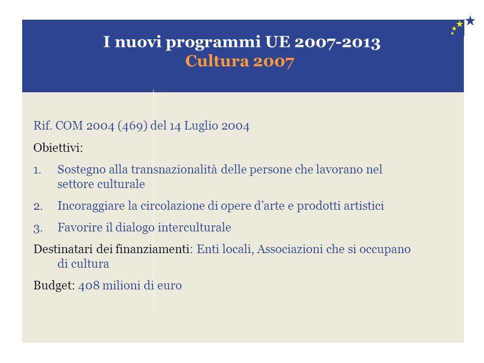 I nuovi programmi UE 2007-2013 Cultura 2007 Rif. COM 2004 (469) del 14 Luglio 2004 Obiettivi: 1.Sostegno alla transnazionalità delle persone che lavor