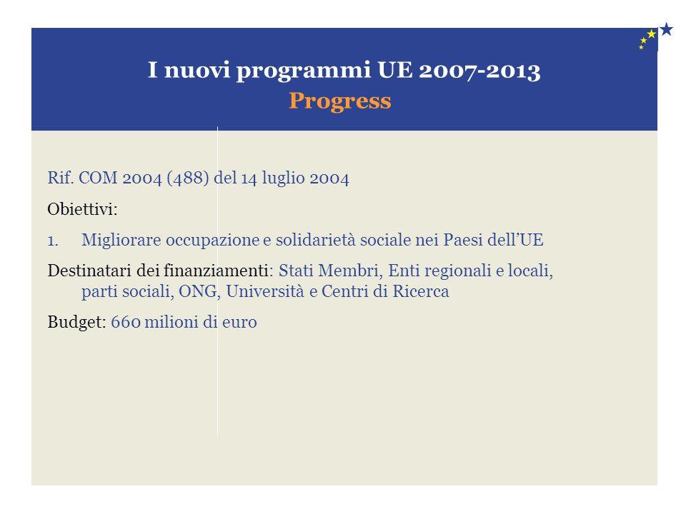 I nuovi programmi UE 2007-2013 Progress Rif. COM 2004 (488) del 14 luglio 2004 Obiettivi: 1.Migliorare occupazione e solidarietà sociale nei Paesi del