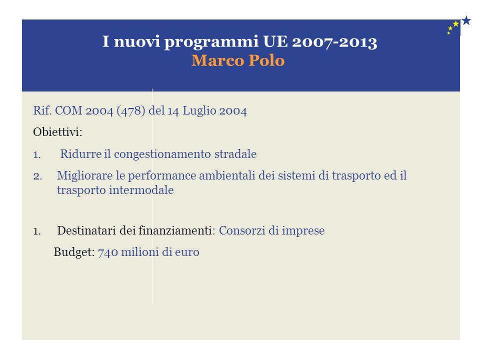 I nuovi programmi UE 2007-2013 Marco Polo Rif. COM 2004 (478) del 14 Luglio 2004 Obiettivi: 1. Ridurre il congestionamento stradale 2.Migliorare le pe