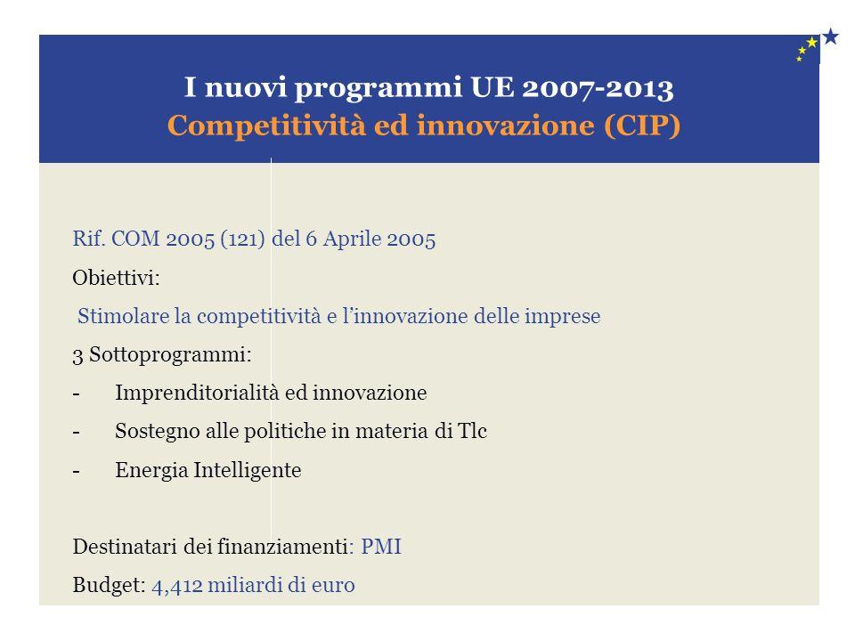 I nuovi programmi UE 2007-2013 Competitività ed innovazione (CIP) Rif. COM 2005 (121) del 6 Aprile 2005 Obiettivi: Stimolare la competitività e linnov