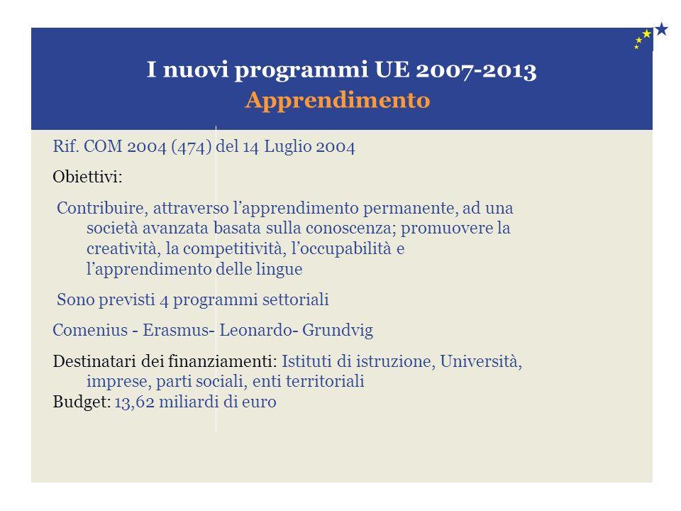 I nuovi programmi UE 2007-2013 Apprendimento Rif. COM 2004 (474) del 14 Luglio 2004 Obiettivi: Contribuire, attraverso lapprendimento permanente, ad u
