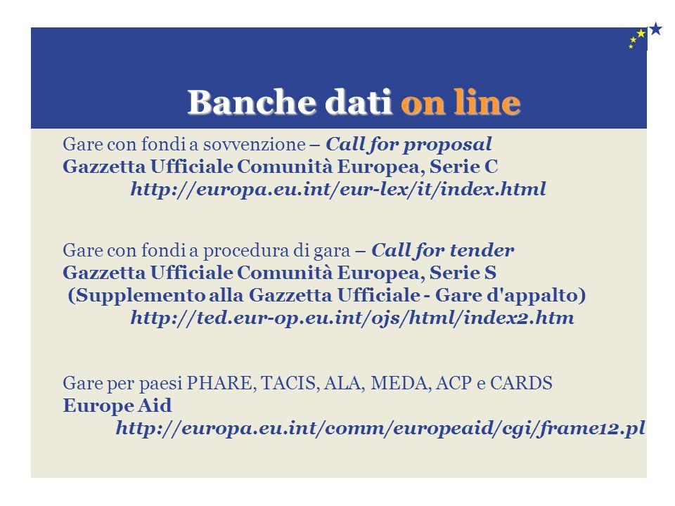 Banche dati on line Banche dati on line Gare con fondi a sovvenzione – Call for proposal Gazzetta Ufficiale Comunità Europea, Serie C http://europa.eu