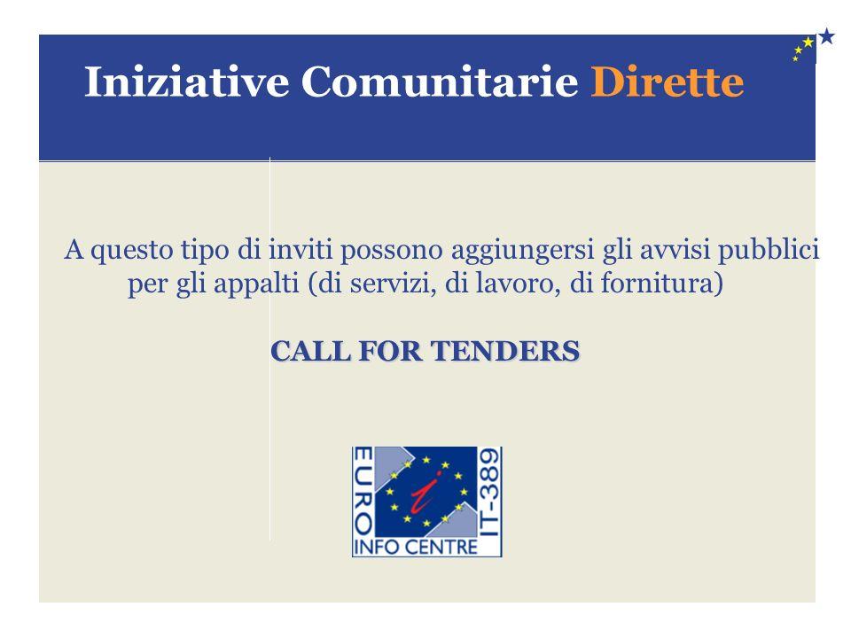 Iniziative Comunitarie Dirette A questo tipo di inviti possono aggiungersi gli avvisi pubblici per gli appalti (di servizi, di lavoro, di fornitura) CALL FOR TENDERS