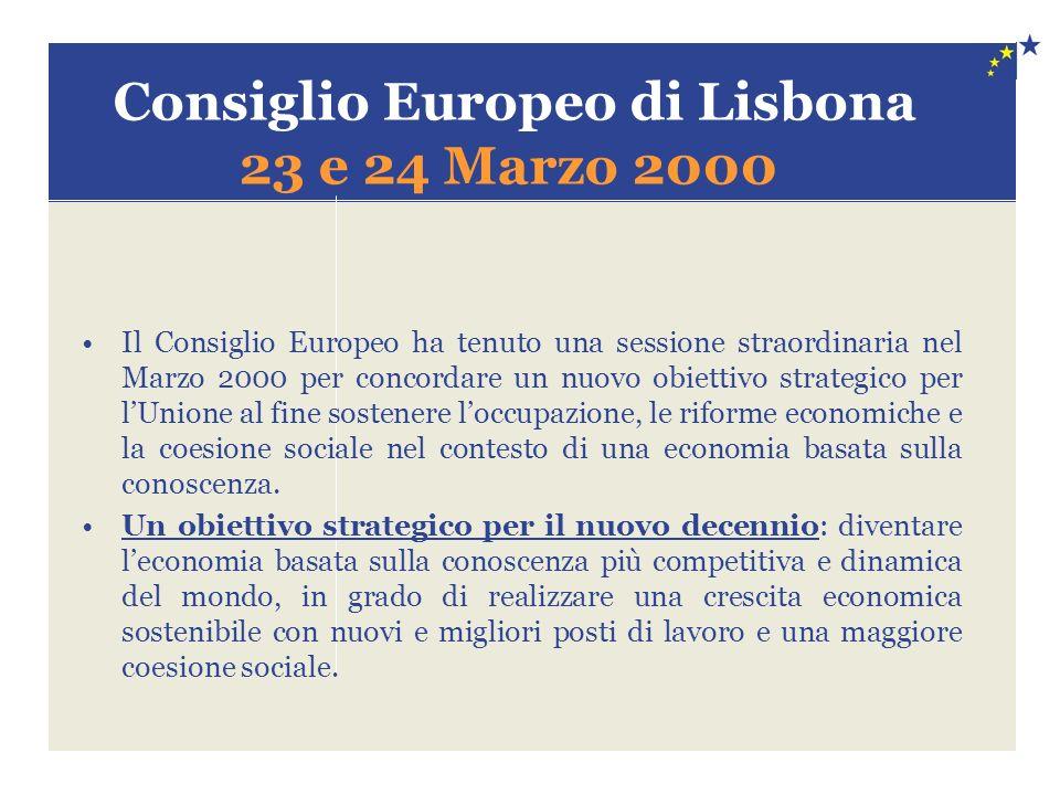 Consiglio Europeo di Lisbona 23 e 24 Marzo 2000 Il Consiglio Europeo ha tenuto una sessione straordinaria nel Marzo 2000 per concordare un nuovo obiettivo strategico per lUnione al fine sostenere loccupazione, le riforme economiche e la coesione sociale nel contesto di una economia basata sulla conoscenza.