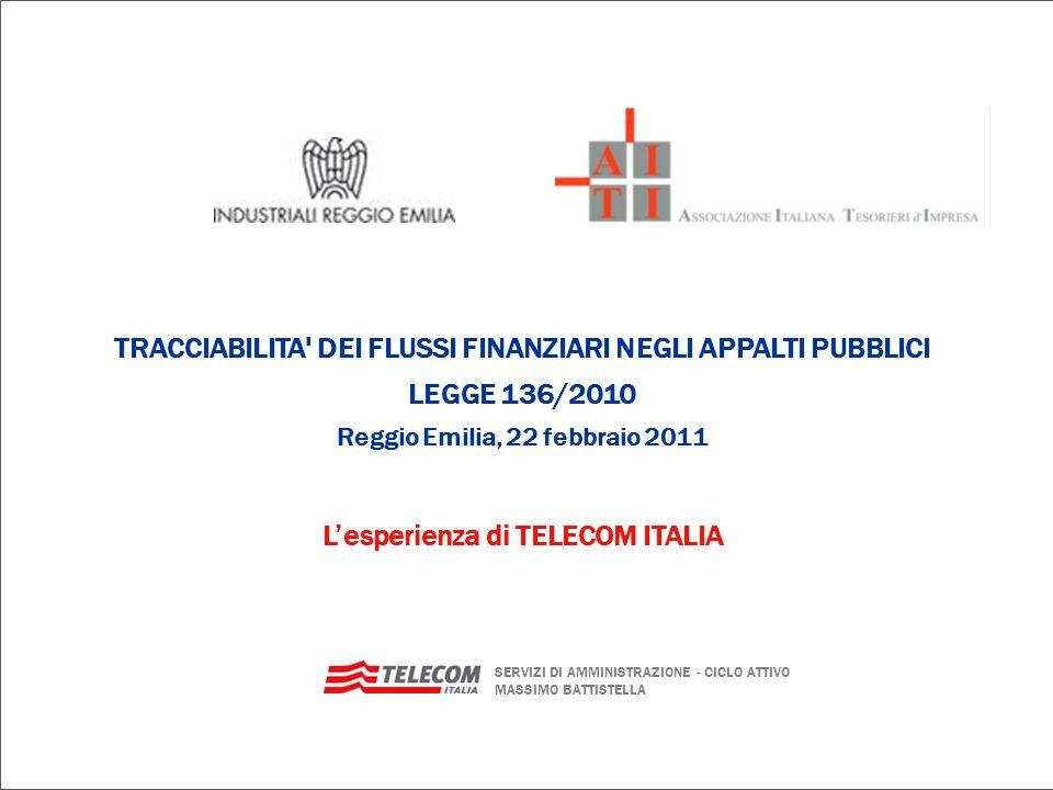 SERVIZI DI AMMINISTRAZIONE - CICLO ATTIVO MASSIMO BATTISTELLA TRACCIABILITA' DEI FLUSSI FINANZIARI NEGLI APPALTI PUBBLICI LEGGE 136/2010 Reggio Emilia