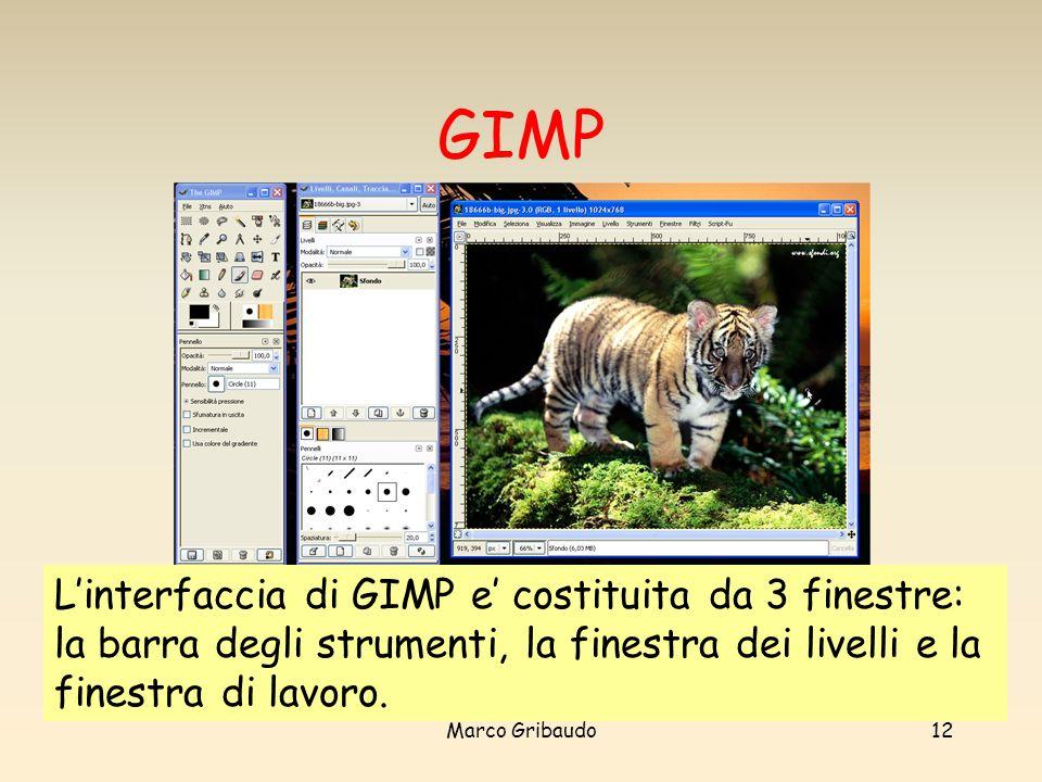 Marco Gribaudo12 GIMP Linterfaccia di GIMP e costituita da 3 finestre: la barra degli strumenti, la finestra dei livelli e la finestra di lavoro.