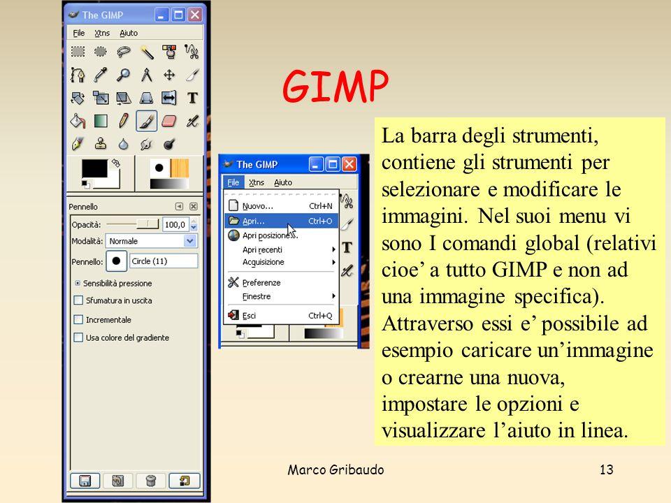 Marco Gribaudo13 GIMP La barra degli strumenti, contiene gli strumenti per selezionare e modificare le immagini.