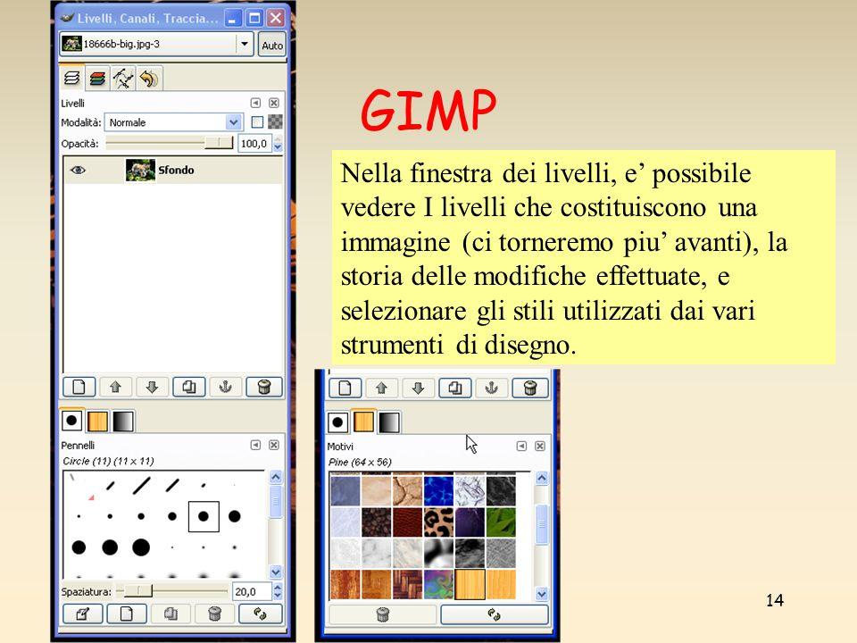 Marco Gribaudo14 GIMP Nella finestra dei livelli, e possibile vedere I livelli che costituiscono una immagine (ci torneremo piu avanti), la storia delle modifiche effettuate, e selezionare gli stili utilizzati dai vari strumenti di disegno.