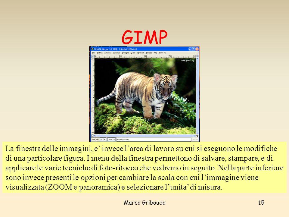 Marco Gribaudo15 GIMP La finestra delle immagini, e invece larea di lavoro su cui si eseguono le modifiche di una particolare figura.