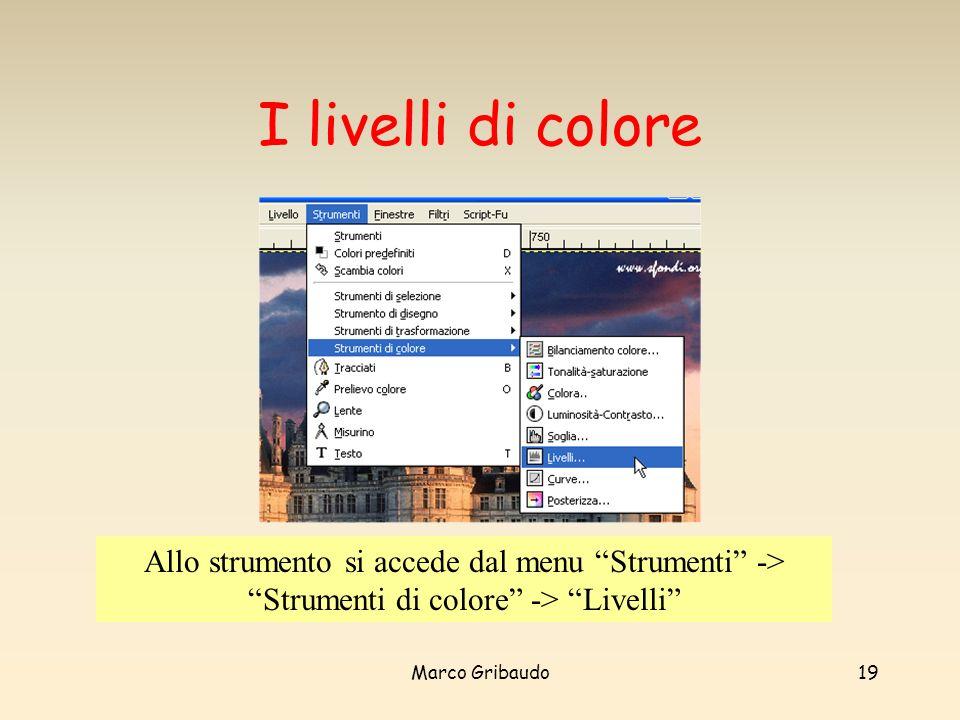 Marco Gribaudo19 I livelli di colore Allo strumento si accede dal menu Strumenti -> Strumenti di colore -> Livelli