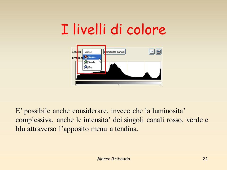 Marco Gribaudo21 I livelli di colore E possibile anche considerare, invece che la luminosita complessiva, anche le intensita dei singoli canali rosso, verde e blu attraverso lapposito menu a tendina.