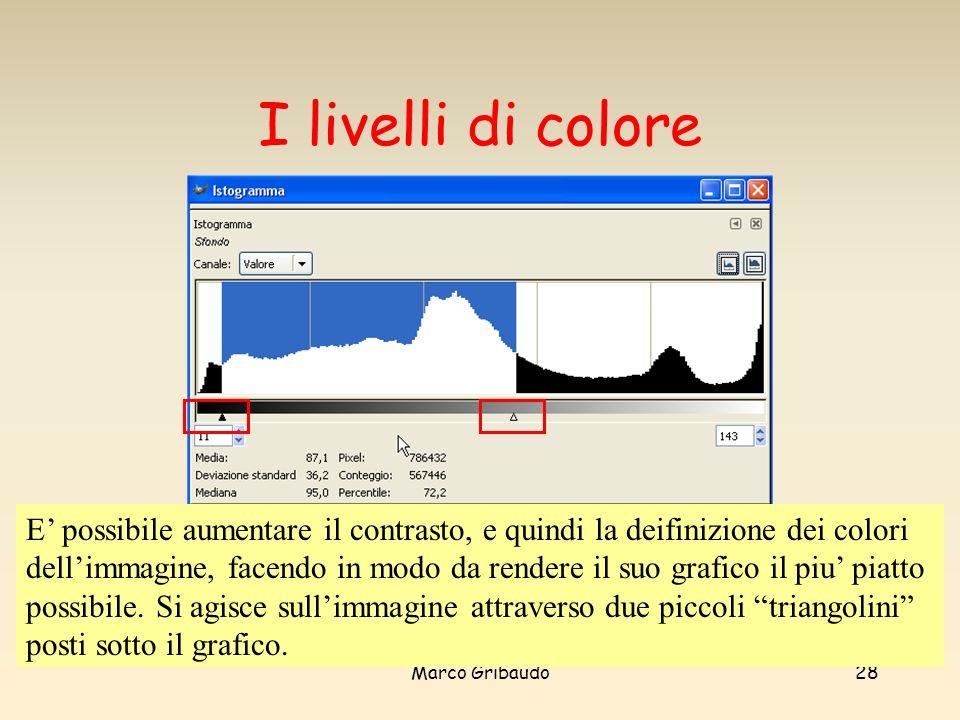 Marco Gribaudo28 I livelli di colore E possibile aumentare il contrasto, e quindi la deifinizione dei colori dellimmagine, facendo in modo da rendere il suo grafico il piu piatto possibile.